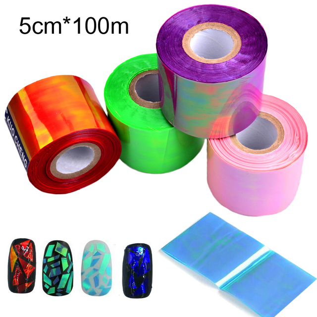 Novo 1 rolo Holográfico Laser Brilhante Prego Transferência Foil Sticker Vidro Quebrado DIY Decoração Manicure Ferramentas de Beleza Da Arte do Prego