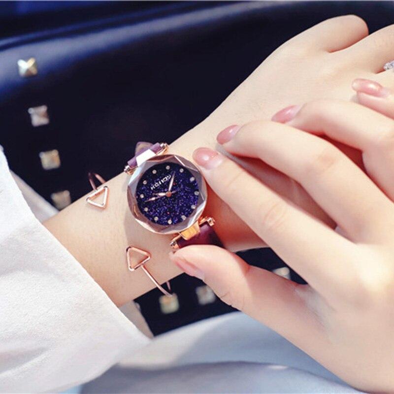 ladies watch for starry sky watch luxury quartz watch women fashion casual leather rhinestone female clock zegarek damski 2018 4