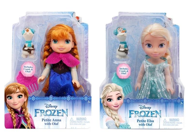 """Disney Frozen 6""""/15cm Petite Elsa Queen Anna Princess & Olaf Fashion Doll 2pcs Action Figures"""