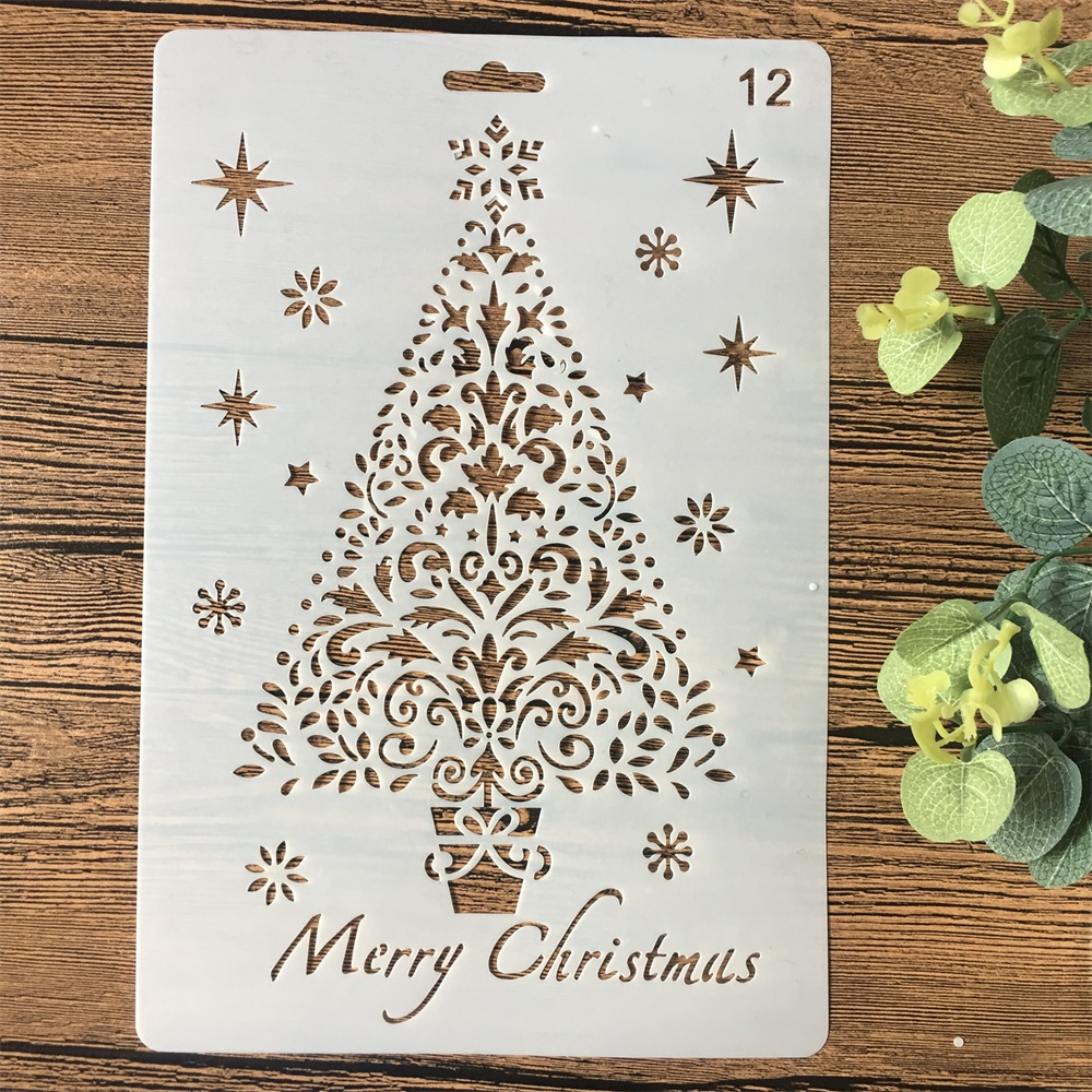 26cm Christmas Tree DIY Craft Layering Stencils Wall Painting Scrapbooking Stamping Embossing Album Card Template