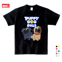 2019 Summer Cartoon Puppy Dog Pals Print Tee Tops For Boy Girls Clothing Children White 3D Funny T-shirt Kids T Shirt Clothes dog print tee
