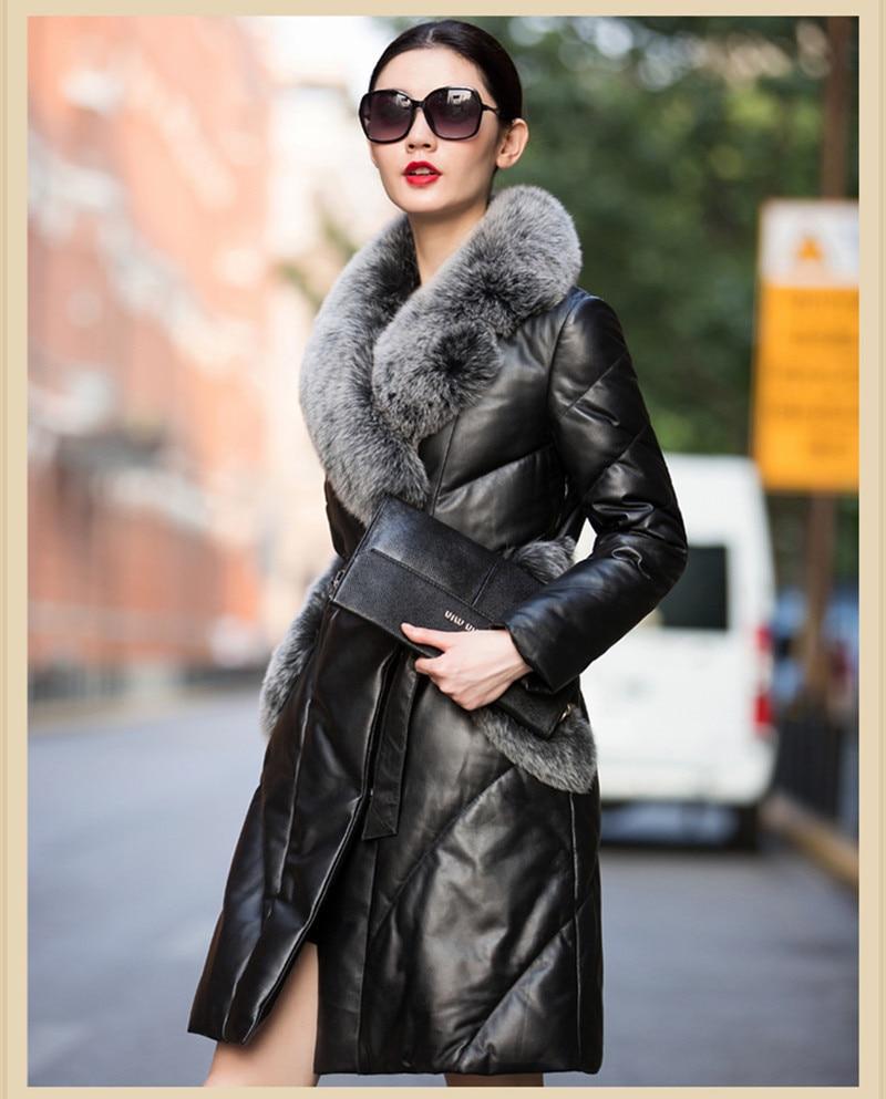 Femme Col En Fourrure Véritable Femmes Ayunsue D'hiver Mouton Cuir Jaqueta Mode Vestes Manteau 2018 Black Wxf262 Réel Couro Veste De Peau rWeCoBdx