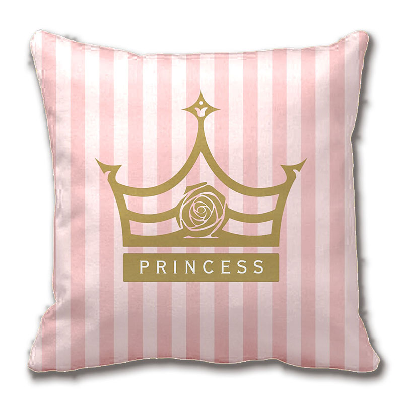 Chic Pink Stripes And Gold Rose Princess Crown Throw Pillow Case Decorative Cushion Cover Pillowcase Customize Gift By Lvsure