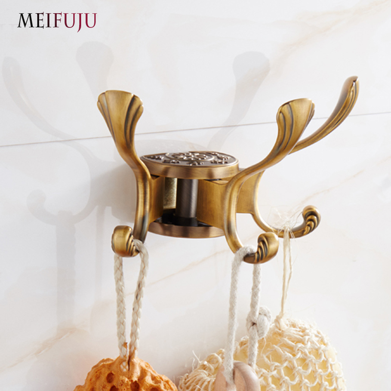 New Design Rotation three hooks gold wall clothes rack cloth hook Robe Hook for Kitchen Bathroom Accessory Hanger