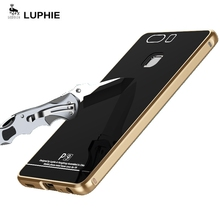 For Huawei P9 Case LUPHIE Brand Tempered Glass back Cover + Luxury Aluminum Frame case For Huawei P9 Metal Case cover
