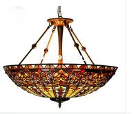 Free Shipping Restaurant Tiffany Country Light Classic 22 Inches Pendant Lighting Living Room Stained Glass Color Pendant Lamp