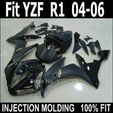 Лучшие продажи литья под давлением обтекатель комплект для Yamaha YZF R1 04 05 06 матовый черный обтекатели комплект YZFR1 2004 2005 2006 LV52