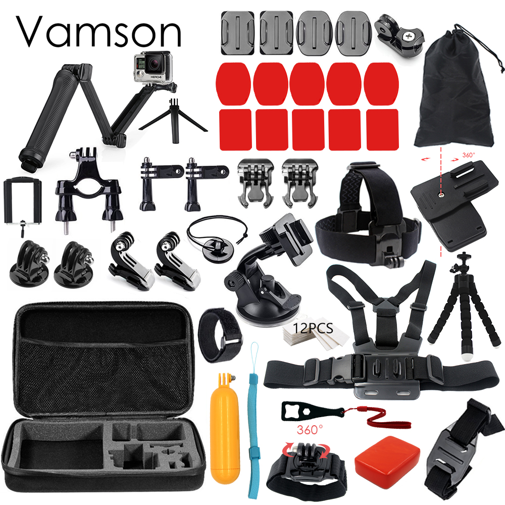 vamson for xiaomi yi 4k accessories set for gopro kit 3 way monopod selfie stick for eken h9r. Black Bedroom Furniture Sets. Home Design Ideas