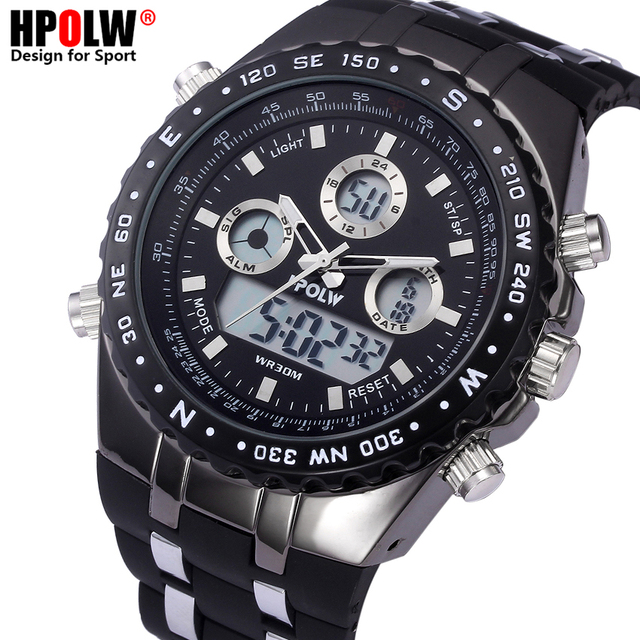 Top Brand Luxury HPOLW Sports Watches Auto Date LED Alarm Black Rubber Band Analog Quartz Military Men Digital Watches relogio