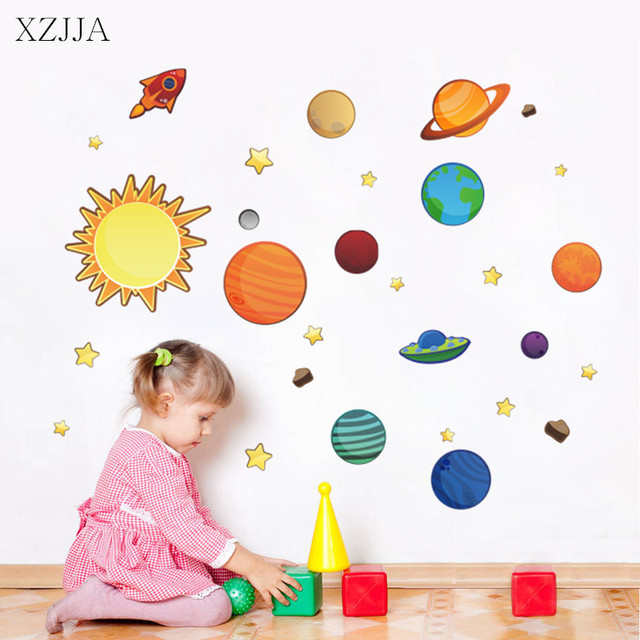 Solar System Planets Wall Stickers For Nursery Baby Bedroom DIY Cartoon Art  Mural Universe Planets Posters Part 58