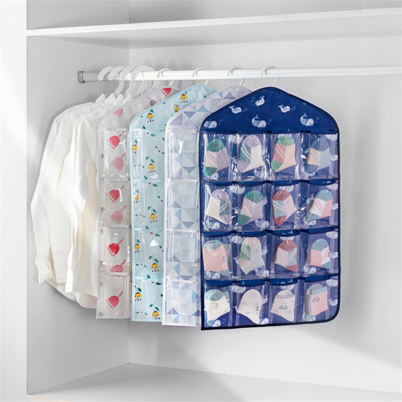 43.5*74cm Whale Print Hanging Underwear organizers 16 Clear Pockets Cosmetic Organizer Jewelry Bag Clothing & Wardrobe Storage