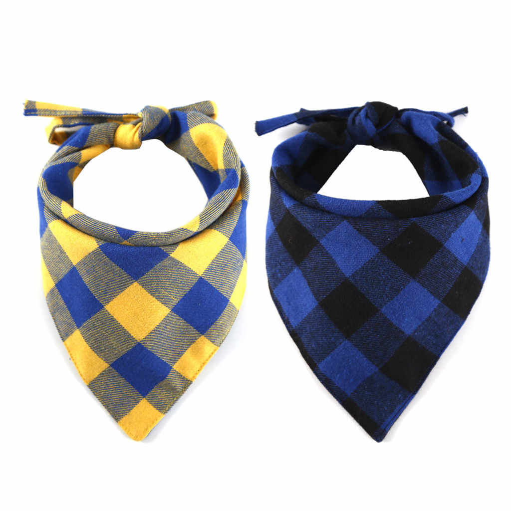 Pet Cat Dog Neck Scarf Tie Grid Triangular Bandage Cotton Neckerchief Collar For Small Medium Large Pets Grooming Accessories