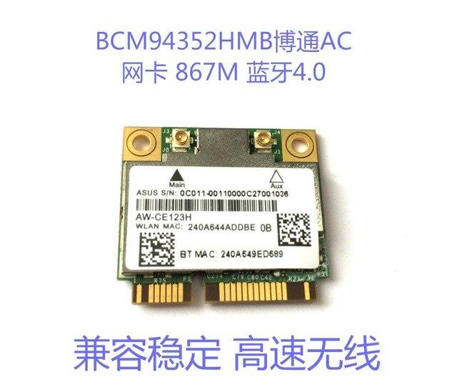 Para AW-CE123H AzureWave Broadcom BCM94352HMB 802.11ac 867 Mbps WLAN + Bluetooth BT 4.0 Metade Mini PCI-E placa pcie