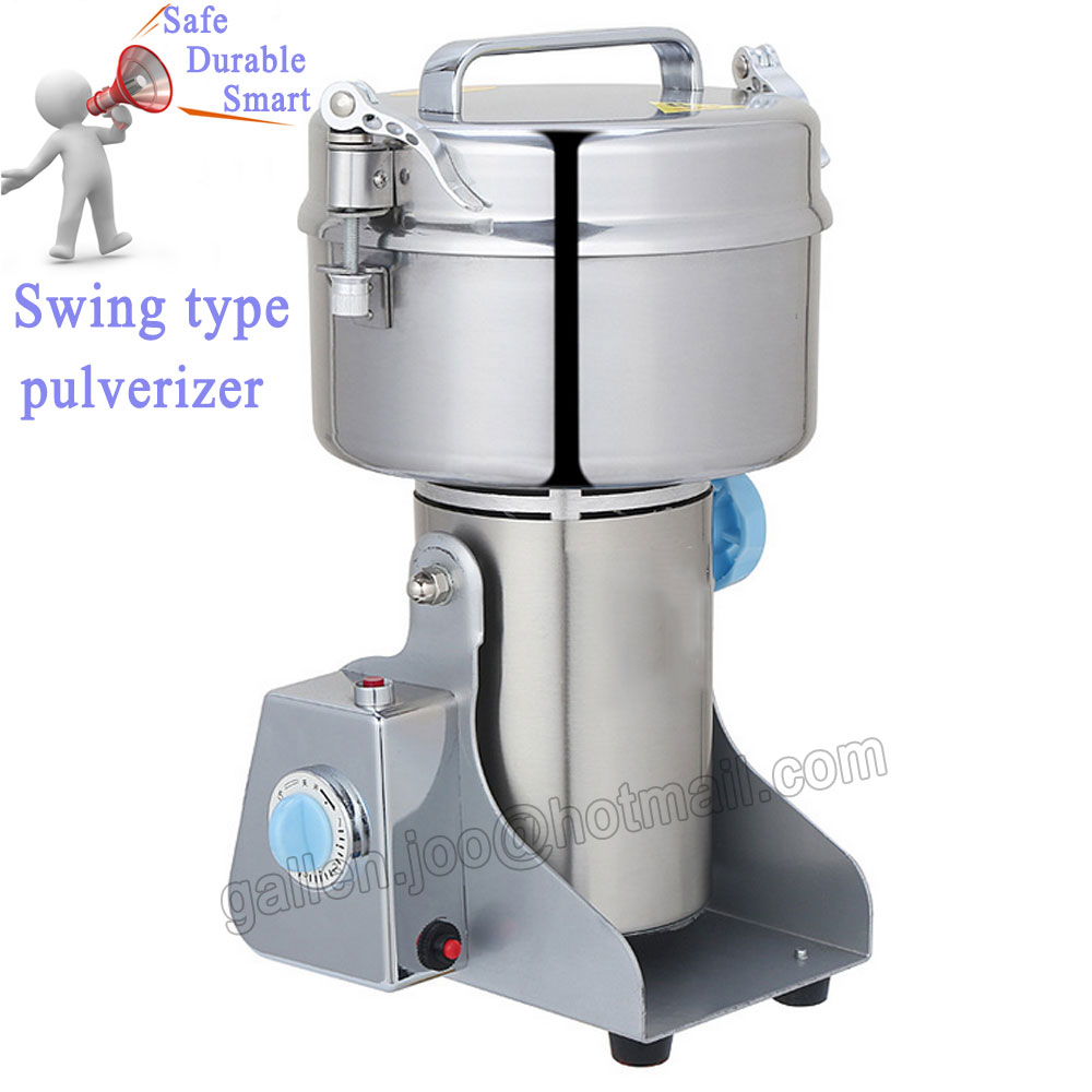 1000G Chinese Medicine Grinder Martensitic Stainless Steel Household Electric Flour Mill Powder Machine, Small Food Grinder high quality 1500g swing type stainless steel electric medicine grinder powder machine ultrafine grinding mill machine