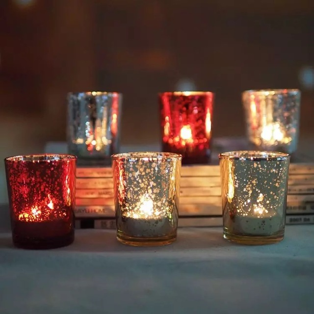 Diy Rose Gold Mercury Glass Part - 20: Free Shipping 12pc 2.5 Inch Rose Gold Mercury Glass Candle Holder Wedding  Party Votive Candle Holder
