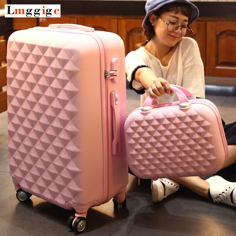 ABS Hardside Rolling Luggage Set With Handbag,Women Travel Suitcase Bag With Cosmetic Bag,20