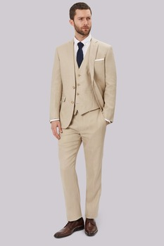 New Arrivals Two Button Beige Groom Tuxedos Notch Lapel Groomsmen Best Man Mens Wedding Suit (Jacket+Pants+Vest+Tie) W:122