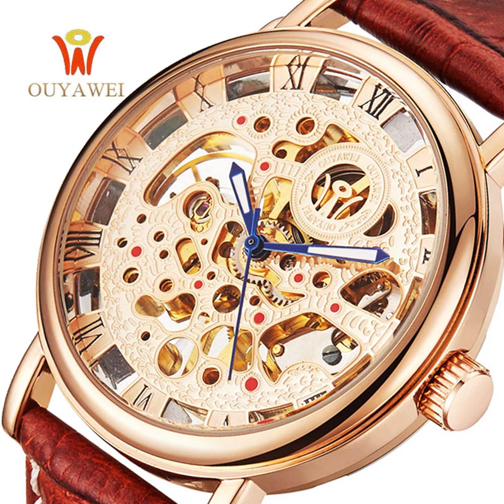 OUYAWEI Luxury Brand Men Watch Gold Skeleton Casual Watches Mechanical Hand Wind Wrist watches  Man's  clock Reloj Hombre mce luxury brand skeleton square mechanical watches leather gold automatic watch men waterproof casual wristwatch reloj hombre