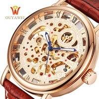 OUYAWEI Luxury Brand Uomini Orologio D'oro Scheletro Casual Orologi Vento Meccanico della Mano orologi Da Polso uomo orologio Reloj Hombre