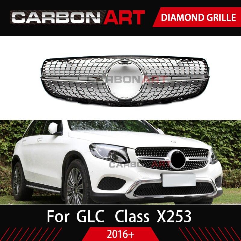 Класса GLC X253 решетка бамперная решетка Алмазная решетка для Mercedes класса GLC X253 Серебристый Хром Черный Дизайн ABS Замена