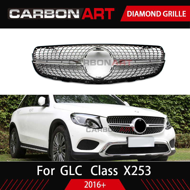 GLC class X253  grille Car Front Grill Diamond Grille for Mercedes GLC class X253 Silver Chrome black Design ABS replacementGLC class X253  grille Car Front Grill Diamond Grille for Mercedes GLC class X253 Silver Chrome black Design ABS replacement