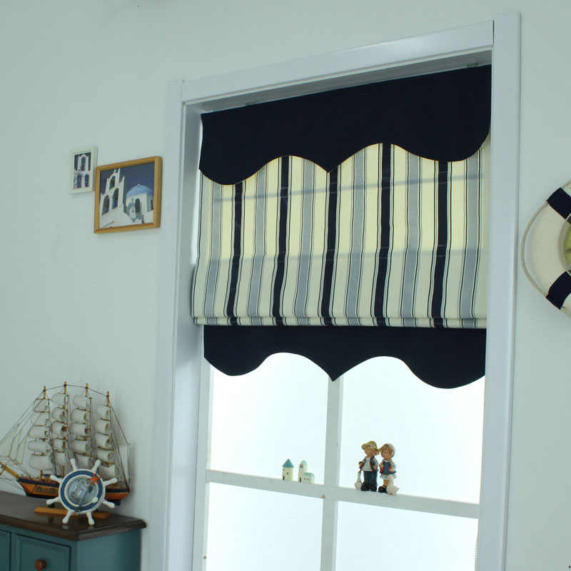 Mediterranean striped curtains linen shade European American style living room bedroom lift curtain Roman curtain