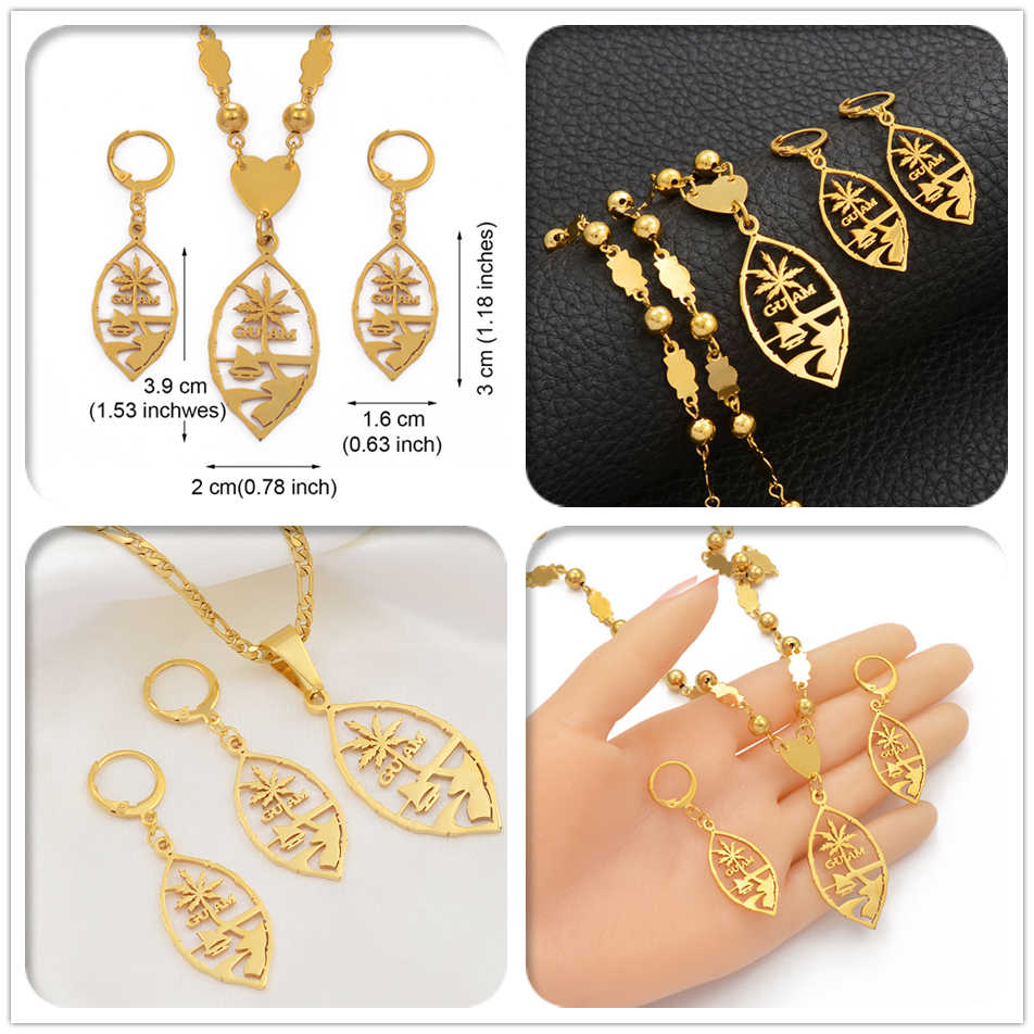 Anniyo Guam Jewelry Sets Pendant Necklaces & Earrings for Women Girls Gold Color Ethnic Jewellery #109521