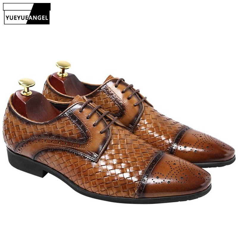 2019 Handmade Knitted Luxury Genuine Leather Business Shoes Men Pointed Toe Casual Derby Shoes Black Brown Wedding Dress Shoes