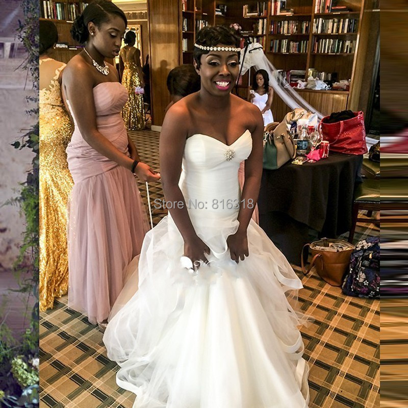 Black Women Wedding Dress With Pleated Y Mermaid Dresses Corset Back Gowns 2016 Vestido De Novia On Aliexpress Alibaba Group