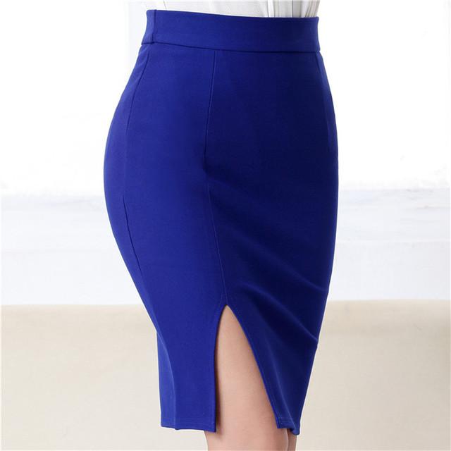 New 2019 Autumn Winter Women Skirt Office Ladies Vintage Spilt Fashion Package Hip Bodycon Solid High Waist Midi Skirt SK5602