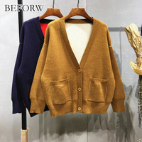 BEFORW 2017 Autumn And Winter Solid Color V Neck Loose Cardigan Sweater Bib Knit Jacket Blouse