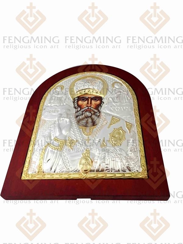 31 * 26,5cm Greacă bizantină ortodoxă icoană de argint a - Decoratiune interioara - Fotografie 5