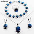 Reginababy Blue created Sapphire Silver Color Jewelry Sets For Women Bracelet/Earrings/Necklace/Ring/Pendant