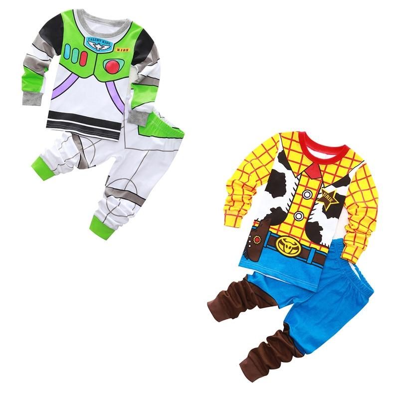 2019 Kids Cotton Pajamas Toy Story Woody Bass Lightyear Sets Sleepwear Baby Boys Girls Cartoon Pijamas Nightwear Clothes