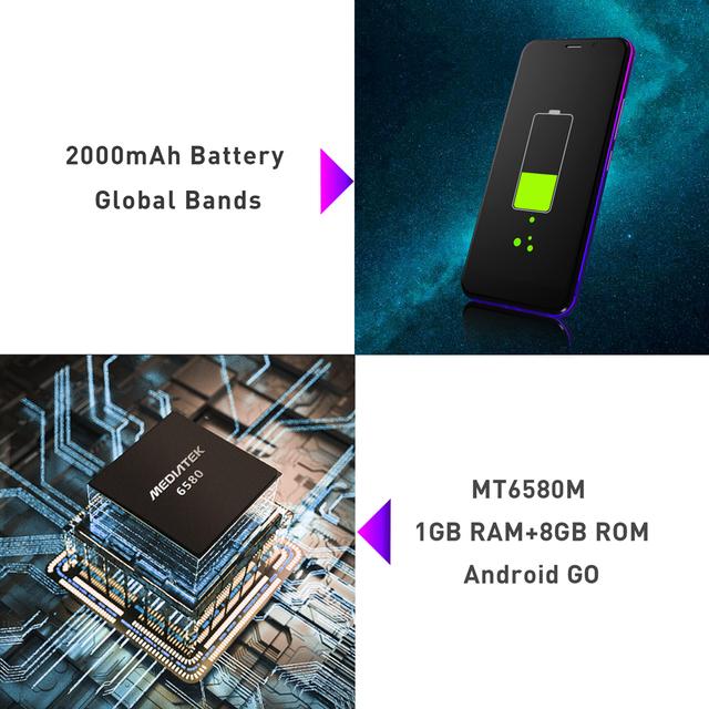 Android Mobile Phone 5.0″ 18:9 Full Screen 1GB RAM 8GB ROM MT6580 Quad Core 2000mAh 5MP Camera Dual SIM 3G Smartphone
