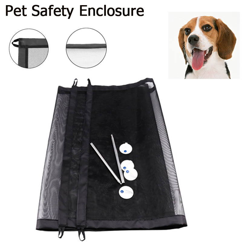Pet Dog Safe Guard Portable Folding Safety Enclosure Nylon Mesh Safe Gate Fence Easy Install anywhere For Prevent Dog In And Out