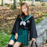 UPHYD Green Japanese School Uniform Pleated Skirt Anime COS Sailor Suit Tops+Tie+Skirt Gryffindo Style Students Clothes For Girl