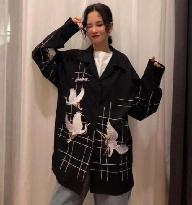 Tops Shirt Bird red Girls Embroidery Fashion Black Oversize 2019 Women Streetwear Plaid Sweet Autumn Blouse Blusas Spring qwO7AS6