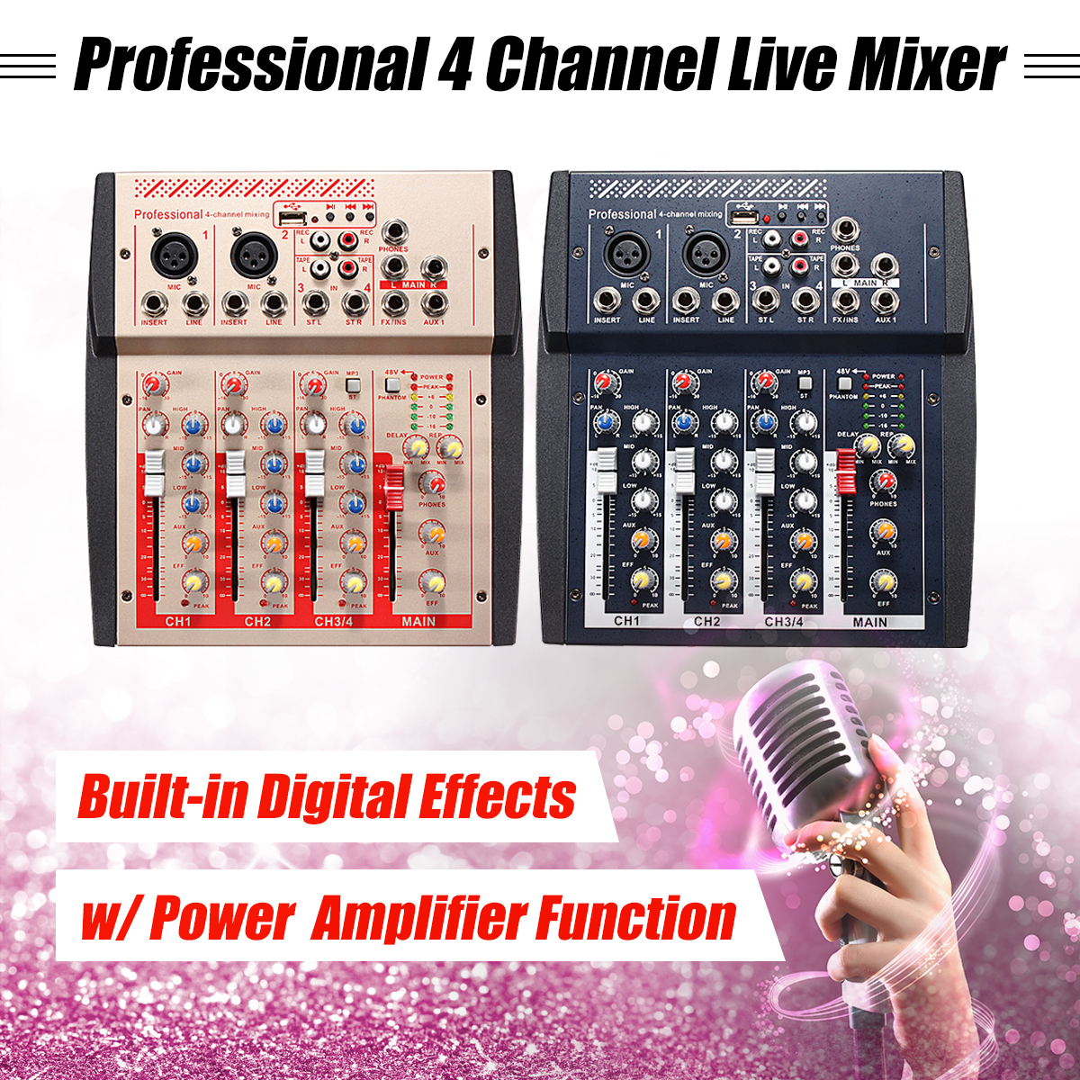 4 canal En Direct Professionnel Studio Audio Mélangeur DJ Console De Mixage USB MP3 Puissance Ligne Numérique Micro Audio Console De Mixage Famille KTV