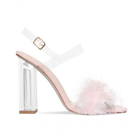 Hot Selling Fashion Special Faux Fur Sandal New Design High Heels Sexy Party Women Shoes