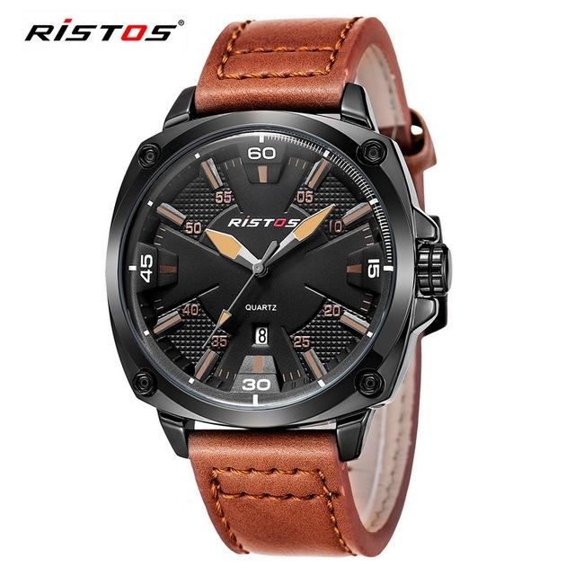 RISTOS X-Esportes Relógio de Quartzo Relógios De Couro Casual Reloj Masculino Geek Relógio Analógico com Data do Calendário À Prova D' Água 93003