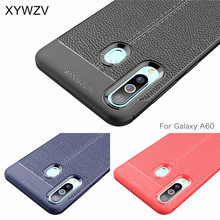 For Samsung Galaxy A60 Case Luxury PU leather Rubber Soft Silicone Phone Back Cover