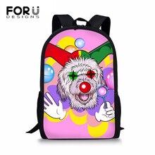 FORUDESIGNS Students Children Backpack Funny Clown Animal Women Shoulder Laptop Backpack Cute Dog Large Capacity Travel Backpack