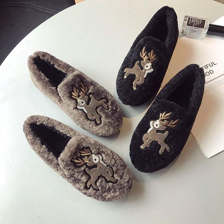 caqui 2018 Plana Mocasines Zapatos Invierno Terciopelo Lindo Negro Para De Bordado Mujer Swyivy Caliente Algodón Superficial Acolchado fXqwSYKa