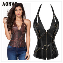 Waist Trainer Slimming Body Shaper Leather Corset Steampunk Hot Shapers 4 Steel Boned Women Front Zipper