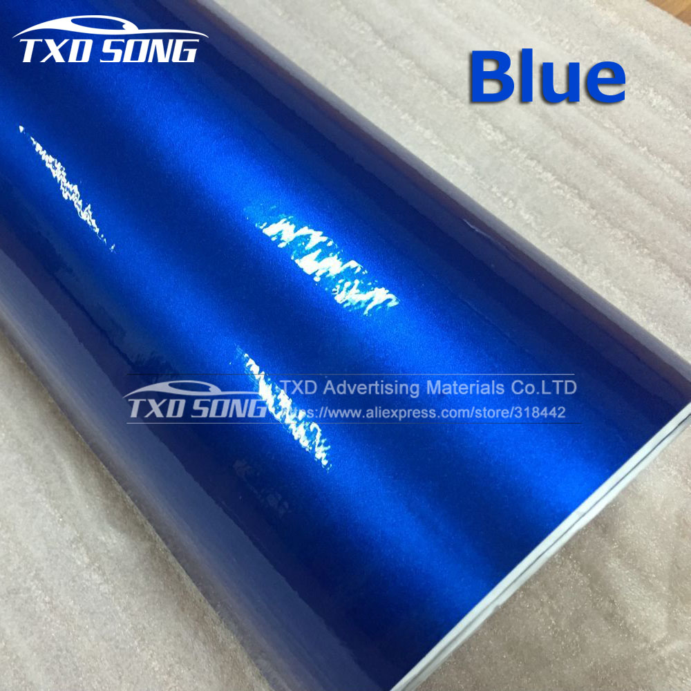 10/20/30/40/50/60cmx152cm/lot Blue Metallic Glossy Vinyl Car Wrapping Sticker With Air Bubble Free Pearl Blue Wrap Film Vhicle