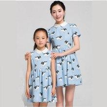 2015 нью-мама daugher платья семьи соответствующие мама и девушка одежда девочки рукавов белый кукла воротник синие животных печать платье