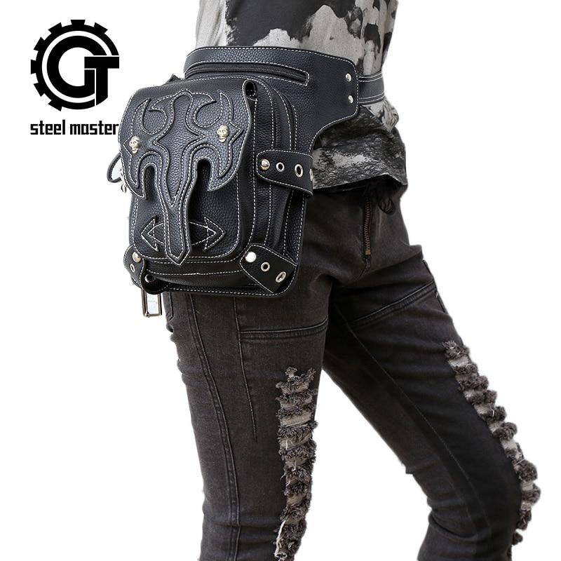 Polad Master 2018 yeni gəlmə steampunk unisex telefon mini ayaq bag retro rock bel bag bag gothic travel bag