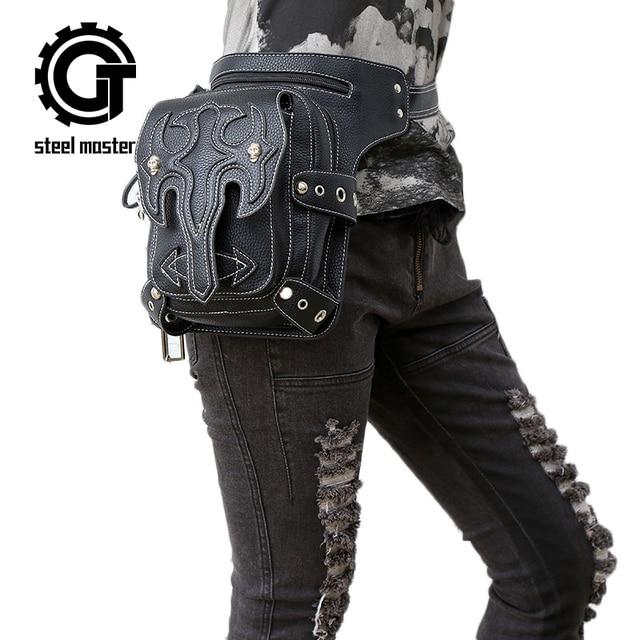 Steel Master 2018 new arrival steampunk unisex phone mini leg bag retro rock waist bag gothic travel bag
