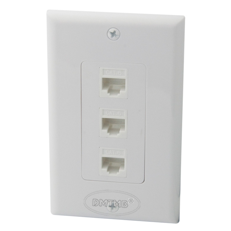 1 Gang 3 X CAT6 RJ45 wall plate with female to female connector цена